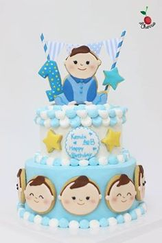Baby Boy 1st birthday Cake Icing cookies decoration
