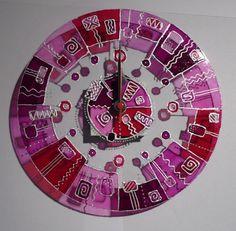Pink üvegóra, Dekoráció, Otthon, lakberendezés, Falióra, Meska