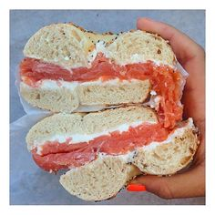 Bagel with cream cheese and lox   Credit: @thehungryjaps #newforkcity by new_fork_city