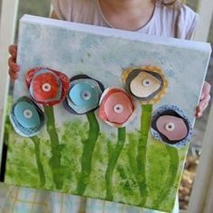 Gift f- paper flower canvas art made by kids