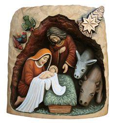 Polish Folk Art Nativity (Manger) - wooden sculpture
