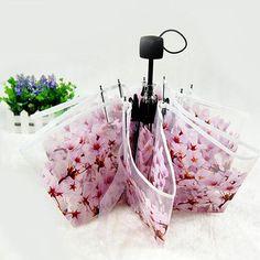 New Retail 1Pcs Color Transparent Sakura Umbrella Rain Women Full-automatic Three-Folding Umbrellas High Quality#S870
