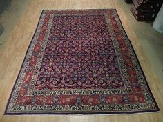 Purple Blue 9' x 13' Authentic Persian Soft Pile Mahal Hand Woven Rug Home Decor