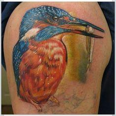 Kingfisher tattoo by Phatt German Kingfisher Tattoo, Neo Traditional Tattoo, Puppet, Tattoo Inspiration, Tattoo Artists, Watercolor Tattoo, Body Art, German, Birds