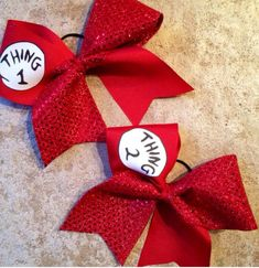 Thing One and Thing Two red Sequin Sparkle Cheer Bow Set