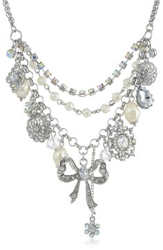 """Or this one… Betsey Johnson """"Stone & Pearl"""" Faux Pearl and Bow Necklace, 19"""""""
