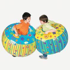 """Nifty Inflatable Body Bopper Set. Move over bumper cars, make room for our inflatable body bopper set! It's twice the fun and kids will burn off a little excess energy too! It's perfect for playtime at home, day care or preschool! Made of heavy-duty vinyl. (2 pcs. per set) Deflated, 39"""" x 38""""; inflated, 38"""" x 21"""" with 2 handles and a 13"""" well. Note: To prevent popping, use caution not to over-inflate. © OTC"""