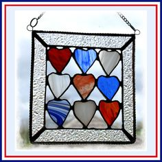 Hearts Quilt Stained Glass Suncatcher