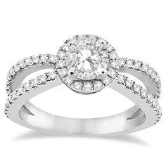 d06878568 Diamond Halo Split Shank Engagement Ring 18k White Gold (0.46ct) Women's  Size: 3.5