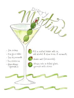 Cocktail Dirty Martini Illustrated Recipe Art Print