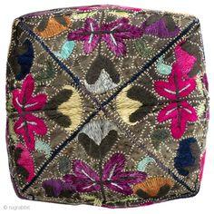 "Hat. Tashkent, Uzbekistan. circa 2nd quarter 20th century. Silk embroidery on faded black silk; black cotton trim; printed-cotton lining. Very good used condition. 4"" h x 6"" d x 21"" circumference. Susan Meller www.susanmeller.com  price:  $100"