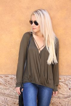 A simple yet fun army green shirt that can spice up any pant. $33. #ShopALB #ApricotLaneTS