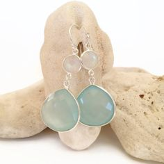 Aqua chalcedony earrings beach wedding jewelry beach by AinaKai, $74.00