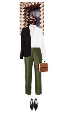 """Outfit of the Day"" by wizmurphy ❤ liked on Polyvore featuring Frame, Raoul, American Vintage, Nicholas Kirkwood, Tomasini, Aurélie Bidermann, WorkWear and ootd"