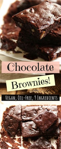 Moist, rich, oil-free vegan chocolate brownies that take 5 minutes to prepare before popping them into the oven. With just under 10 ingredients, these brownies will take care of your chocolate cravings the elegant way. #chocolatebrownies #vegandessert