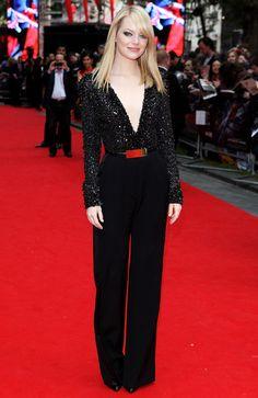 Emma Stone in an Elie Saab jumpsuit and Van Cleef & Arpels jewelry