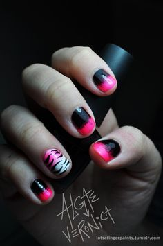 Awesome hot pink/black ombre