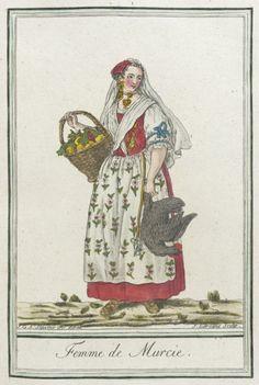 Femme de Murcie (woman of Murcia, Spain) circa 1797 Saint Sauveur, Spain Fashion, Costumes Around The World, 18th Century Costume, Bordeaux, Empire Style, Folk Costume, Historical Clothing, Murcia Spain