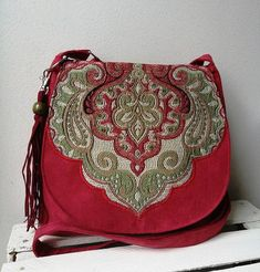 Red oriental bag Boho chic bag Boho messenmger bag Oriental - The latest in Bohemian Fashion! These literally go viral!