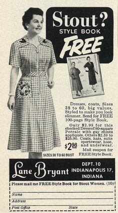 """Stout? Style Book Free"" Published in Family Circle, August 1954 Love it, ""Stout?"""