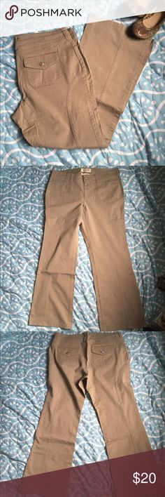 Brand new never worn tan khakis Tan khakis with cute cargo- like stitching - 14 short with stretch London Jean Pants Straight Leg