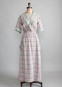Antique Edwardian Cotton Plaid House Dress.  So much like those seen in the kitchens of Downton Abbey! ;-)