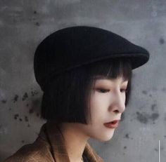 Plain wool flat cap for women British style winter caps