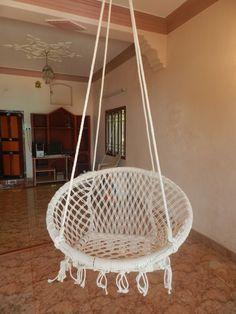 Handmade White Color Cotton Rope Cane Swing! Order here :- https://goo.gl/nWw5GR