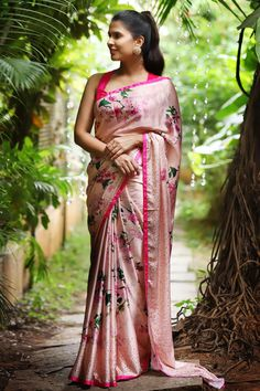 Buy Designer Blouses online, Custom Design Blouses, Ready Made Blouses, Saree Blouse patterns at our online shop House of Blouse from India. Floral Print Sarees, Saree Floral, Pink Saree, Printed Sarees, Satin Saree, Cotton Saree, Lace Saree, House Of Blouse, Sari Dress