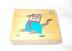 Golfing Kliban rubber stamp Cat On the Green 094E Dated 1990 Wood Mounted cats #RubberStampede #CatsKlibancats
