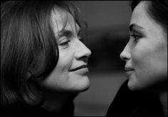 Portrait of French actresses Isabelle Huppert and Emmanuelle Béart, Paris, 2000