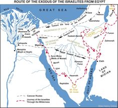 Map of the Route of the Exodus of the Israelites from Egypt (Bible History Online) Bible Dictionary, Bible Mapping, History Online, Mystery Of History, Bible Knowledge, Red Sea, Historical Maps, Bible Lessons, Planer