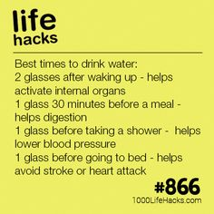 The Best Times To Drink Water - 1000 Life Hacks Improve your life one hack at a time. 1000 Life Hacks, DIYs, tips, tricks and More. Start living life to the fullest! Simple Life Hacks, Useful Life Hacks, Hack My Life, Life Hacks Tips, Best Life Hacks, Diy Hacks, 1000 Lifehacks, Tips And Tricks, Lower Blood Pressure