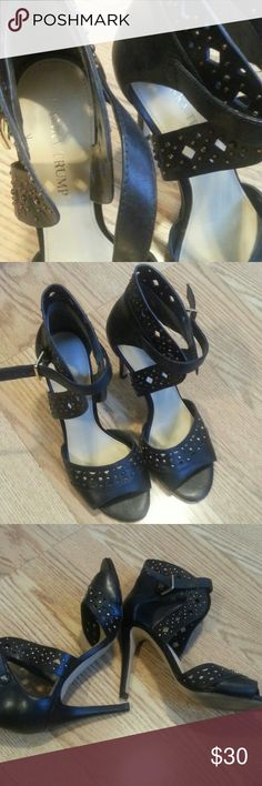 Ivanka Trump black  leather heels Pre owned,good condition not much wear, size 7, Leather upper, laser cut& little metal studs ,heel 4 in Ivanka Trump Shoes Heels