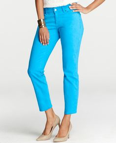 Loving the bright colors this season, and these look really flattering! Petite Curvy Cropped Denim Jeans