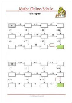 Rechengitter - Mathe 2. Klasse #math #math #grundschule Math For Kids, Fun Math, Reto Mental, Printable Preschool Worksheets, School Plan, Maths Puzzles, Math Word Problems, Math Projects, Third Grade Math