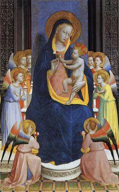 La Pala di Fiesole (Madonna in trono col Bambino, angeli e santi) è un'opera di Beato Angelico e Lorenzo di Credi. Conservata nella chiesa originale per cui fu dipinta, San Domenico a Fiesole, è una tempera su tavola databile al 1424-1425, con la ridipintura dello sfondo nel 1501. | Madonna  with Angels, Retable de San Domenico (détail)