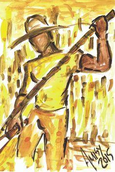 MOISSON DE LA CANNE A SUCRE Un brésilien récolte la canne à sucre.