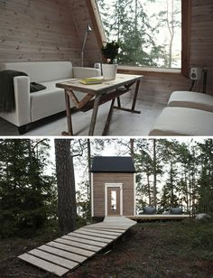 Scandinavian Squeeze: Tiny Cabin Under 100 Square Feet. Gives me and idea. Could I make Aurielle's playhouse into a bunkhouse? Guest House Plans, Cabin Plans, Small Space Living, Small Spaces, Homestead House, Building A Cabin, Home Id, Tiny Cabins, Little Cabin