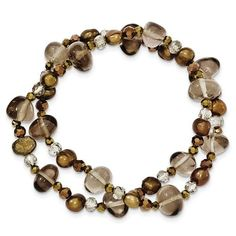 Freshwater Cultured Brown Pearls, Crystal And Smokey Quartz 2-Strand Stretch Bracelet