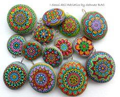 Hand Painted Stone Mandala Pendant by ISassiDellAdriatico on Etsy