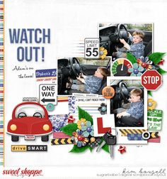 Leaving The Nest: New Driver - Traci Reed Baby Boy Scrapbook, School Scrapbook, 12x12 Scrapbook, Scrapbook Sketches, Scrapbook Paper Crafts, Scrapbooking Layouts, Vacation Scrapbook, Nest, Making Memories