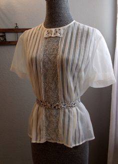 Sheer White Vintage Blouse 1950s Rhinestones by SweetRepeatVintage, SOLD