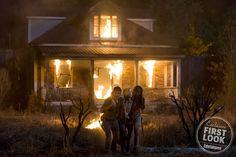 Andrew Lincoln as Rick, Chandler Riggs as Carl, and Danai Gurira as Michonne
