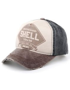 Distressed Retro Vintage Trucker Cap Gas Baseball Hat Shell Brim Cap eeb9b63e803