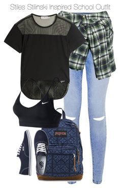 """""""Stiles Stilinski Inspired School Outfit"""" by staystronng ❤ liked on Polyvore featuring Faith Connexion, adidas, JanSport, NIKE, Vans, school, StilesStilinski and tw"""