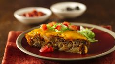 """Impossibly Easy Taco Pie This unbelievably simple dinner recipe is a long-time Bisquick favorite! Betty Crocker member Cindymeredith says, """"I have been making this for over 20 years! It is one of the first dishes I learned to make! Very good and so easy! Taco Pie Recipes, Bisquick Recipes, Mexican Food Recipes, Dinner Recipes, Cooking Recipes, Easy Recipes, Taco Pie With Bisquick, Mexican Meals, Dinner Ideas"""