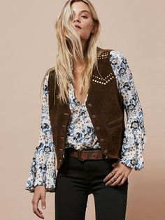 Free People X Understated Studded Suede Vest Fashion Line, Boho Fashion, Autumn Fashion, Fashion Design, Fashion Ideas, Vintage Gypsy, Costumes For Sale, Vest Outfits, Denim And Supply
