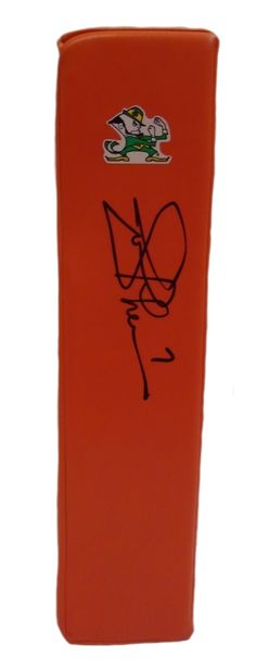 Joe Theismann signed Notre Dame Fighting Irish Rawlings football touchdown end zone pylon w/ proof photo.  Proof photo of Joe signing will be included with your purchase along with a COA issued from Southwestconnection-Memorabilia, guaranteeing the item to pass authentication services from PSA/DNA or JSA. Free USPS shipping. www.AutographedwithProof.com is your one stop for autographed collectibles from Washington DC sports teams. Check back with us often, as we are always obtaining new…