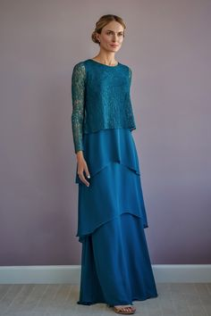 A pretty long sleeve flared gown in Charlotte chiffon with a scoop neckline lace top and multi-tiered skirt. Chiffon Skirt, Chiffon Fabric, Black Mother, Tiered Skirts, Gowns With Sleeves, Couture Collection, Girls Dresses, Bride Dresses, Mother Of The Bride